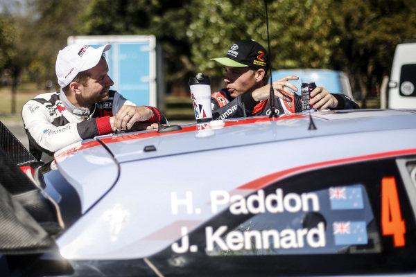 Juho Hanninen (FIN), Toyota Gazoo Racing WRC and Hayden Paddon (NZL), Hyundai Motorsport WRC at World Rally Championship, Rd5, Rally Argentina, Day Three, Villa Carlos Paz, Cordoba, Argentina, 29 April 2017.