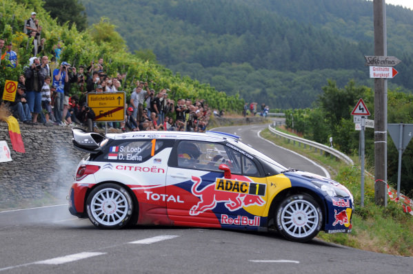 Sebastien Loeb (FRA) and Daniel Elena (MC), Citroen DS3 WRC on stage 7. FIA World Rally Championship, Rd9, ADAC Rallye Deutschland, Day Two, Trier, Germany, 25 August 2012.