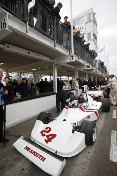 2015 73rd Members Meeting. Goodwood Estate, West Sussex, England. 21st - 22nd March 2015. High air box F1 celebration with Freddie Hunt in the Hesketh 308. World Copyright: Gary Hawkins/LAT Photographic ref: Digital Image HUNT_F2R1327