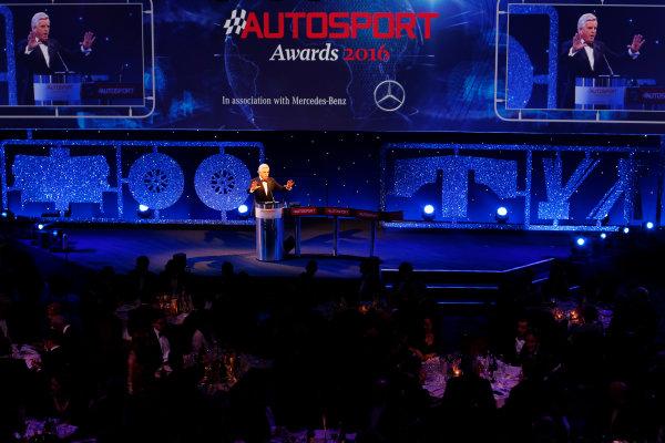 2016 Autosport Awards. Grosvenor House Hotel, Park Lane, London. Sunday 4 December 2016.  Steve Rider opens the 2016 Autosport awards.  World Copyright: /LAT Photographic. ref: Digital Image _14P9003