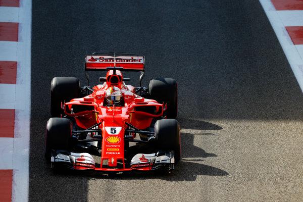Yas Marina Circuit, Abu Dhabi, United Arab Emirates. Friday 24 November 2017. Sebastian Vettel, Ferrari SF70H. World Copyright: Steven Tee/LAT Images  ref: Digital Image _R3I1794