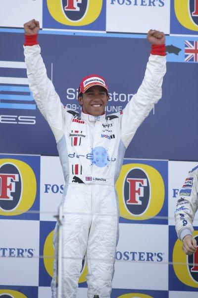 2006 GP2 Series Round 6. Silverstone, England. 11th June 2006. Sunday race. Lewis Hamilton (GBR, ART Grand Prix) race winner. Podium. World Copyright: Andrew Ferraro/GP2 Series Media Service. Ref: Digital Image Only ZP9O7917