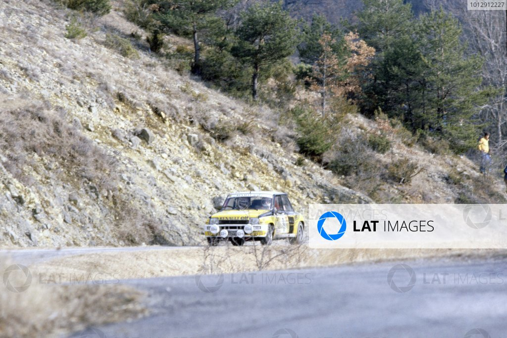 1981 World Rally Championship.Monte Carlo Rally, Monaco. 24-30 January 1981.Jean Ragnotti/Jean-Marc Andrie (Renault 5 Turbo), 1st position.World Copyright: LAT PhotographicRef: 35mm transparency 81RALLY01