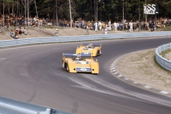 1972 Can-Am Challenge Cup.CanAm race. Watkins Glen, New York State, United States (USA). 23 July 1972.Denny Hulme leads Peter Revson (both McLaren M20-Chevrolet). They finished in 1st and 2nd position respectively.World Copyright: LAT PhotographicRef: 35mm transparency 72CANAM21