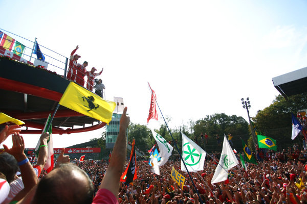Race winner Fernando Alonso (ESP) Ferrari; Stefano Domenicali (ITA) Ferrari General Director and team mate Felipe Massa (BRA) Ferrari celebrate on the podium.