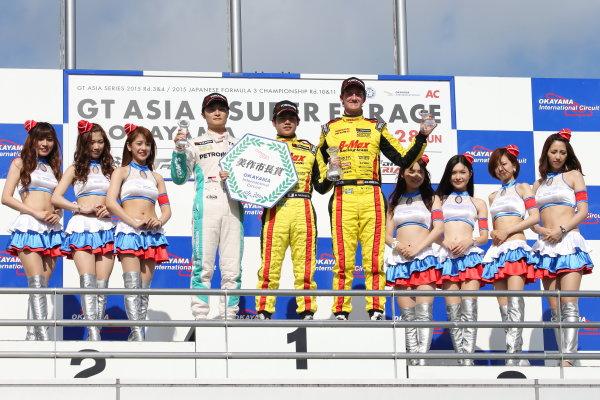 2015 Japanese Formula 3 Championship. Okayama, Japan. 27th - 28th June 2015. Rd 10 & 11. Winner Mitsunori Takaboshi ( #23 B-MAX NDDP F3 ) 2nd position Kenta Yamashita ( #36 PETRONAS TOM'S F312 ) 3rd position Lucas Ordonez ( #22 B-MAX NDDP F3 ) podium, portrait. World Copyright: Masahide Kamio / LAT Photographic. Ref:  2015JF3_Rd10&11_05