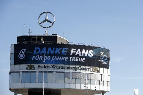 Mercedes banner on the Baden-Würtemberg Center.