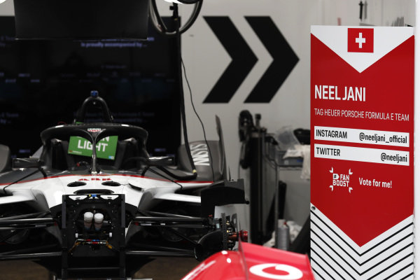 A view of Neel Jani's (CHE) Tag Heuer Porsche, Porsche 99x Electric in the garage