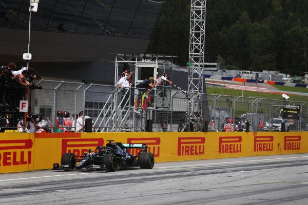 Lewis Hamilton, Mercedes F1 W11 EQ Performance, takes the victory