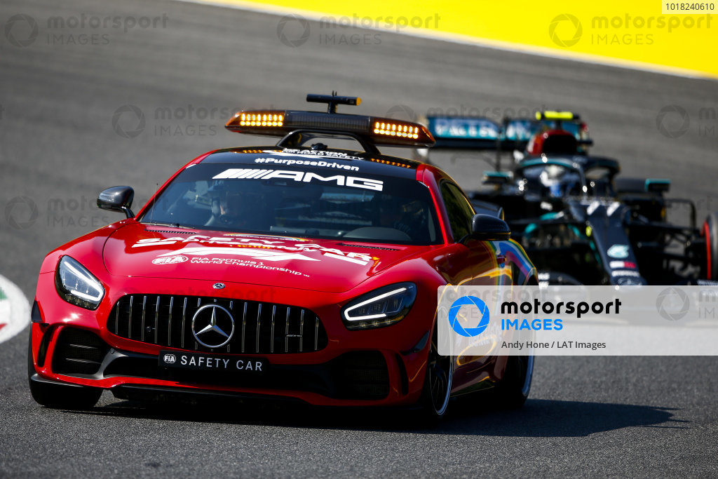 Safety Car leads Valtteri Bottas, Mercedes F1 W11 EQ Performance