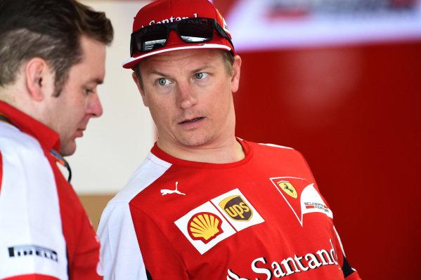 Dave Greenwood (GBR) Ferrari Race Engineer and Kimi Raikkonen (FIN) Ferrari at Formula One World Championship, Rd16, United States  Grand Prix, Preparations, Austin, Texas, USA, Thursday 22 October 2015.