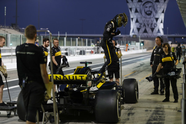 Nico Hulkenberg, Renault Sport F1 Team, exits his car.