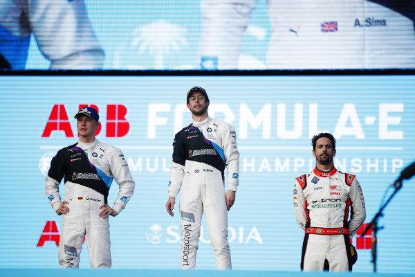Maximilian Günther (DEU), BMW I Andretti Motorsports, BMW iFE.20, Alexander Sims (GBR) BMW I Andretti Motorsports, BMW iFE.20, and Lucas Di Grassi (BRA), Audi Sport ABT Schaeffler, Audi e-tron FE06, on the podium