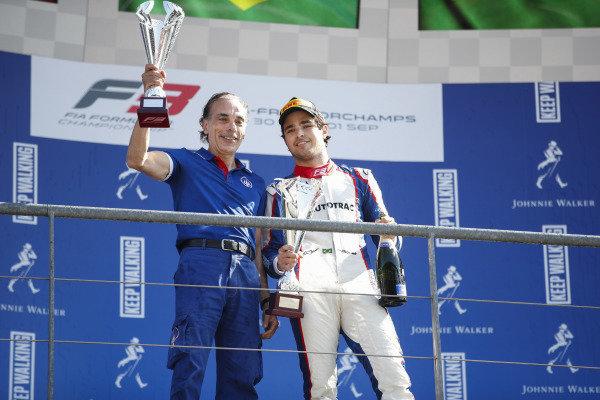 SPA-FRANCORCHAMPS, BELGIUM - AUGUST 31: Pedro Piquet (BRA) Trident, celebrates on the podium during the Spa-Francorchamps at Spa-Francorchamps on August 31, 2019 in Spa-Francorchamps, Belgium. (Photo by Joe Portlock / LAT Images / FIA F3 Championship)