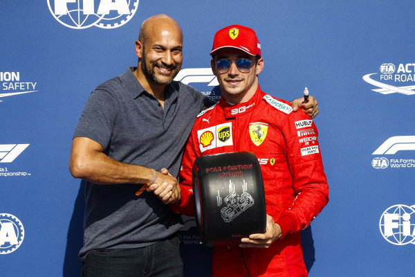 Charles Leclerc, Ferrari, celebrates pole position with the Pirelli Pole Award