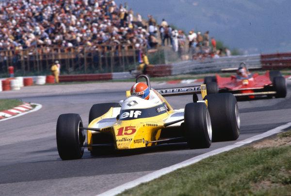 1980 Austrian Grand Prix.Osterreichring, Zeltweg, Austria.15-17 August 1980.Jean-Pierre Jabouille (Renault RE20) 1st position.Ref-80 AUT 05.World Copyright - LAT Photographic