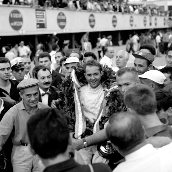 1960 Italian Grand Prix.Monza, Italy.2-4 September 1960.Phil Hill (Ferrari) 1st position with Richie Ginther (Ferrari) 2nd position.Ref-7195B/W.World Copyright - LAT Photographic