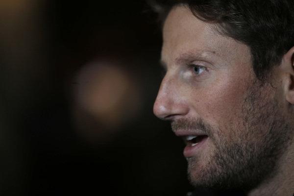 Romain Grosjean, Haas F1 Team speaks with the media