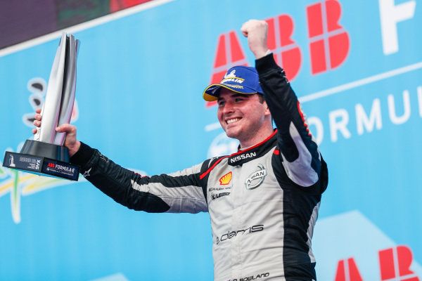 Oliver Rowland (GBR), Nissan e.Dams, celebrates 2nd position on the podium