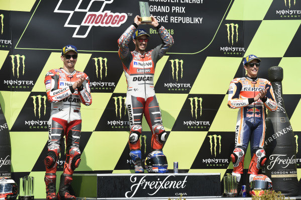 Podium: race winner Andrea Dovizioso, Ducati Team, second place Jorge Lorenzo, Ducati Team, third place Marc Marquez, Repsol Honda Team.