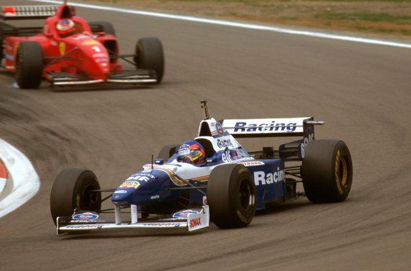 Nurburgring, Germany.26-28 April 1996.Jacques Villeneuve (Williams FW18 Renault) 1st position followed by Michael Schumacher (Ferrari F310) 2nd position.Ref-96 EUR 05.World Copyright - LAT Photographic
