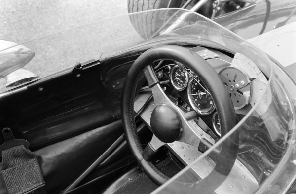 Steering wheel and dashboard on a Brabham BT26 Repco.