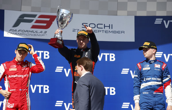 SOCHI AUTODROM, RUSSIAN FEDERATION - SEPTEMBER 29: Race winner Juri Vips (EST) Hitech Grand Prix, Marcus Armstrong (NZL) PREMA Racing and Robert Shwartzman (RUS) PREMA Racing on the podium during the Sochi at Sochi Autodrom on September 29, 2019 in Sochi Autodrom, Russian Federation. (Photo by Joe Portlock / LAT Images / FIA F3 Championship)