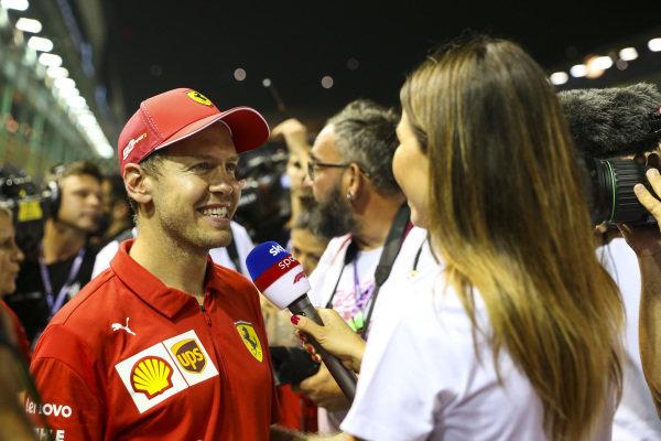 Sebastian Vettel, Ferrari, 1st position, is interviewed