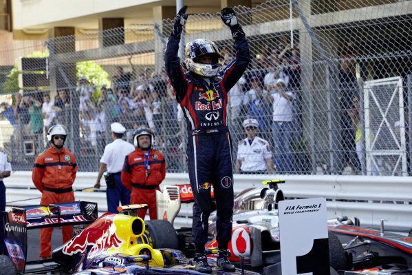 Sebastian Vettel celebrates on his Red Bull RB7 Renault after the race.