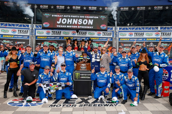 2017 Monster Energy NASCAR Cup Series O'Reilly Auto Parts 500 Texas Motor Speedway, Fort Worth, TX USA Sunday 9 April 2017 Jimmie Johnson celebrates in victory lane  World Copyright: Russell LaBounty/LAT Images ref: Digital Image 17TEX1rl_5270