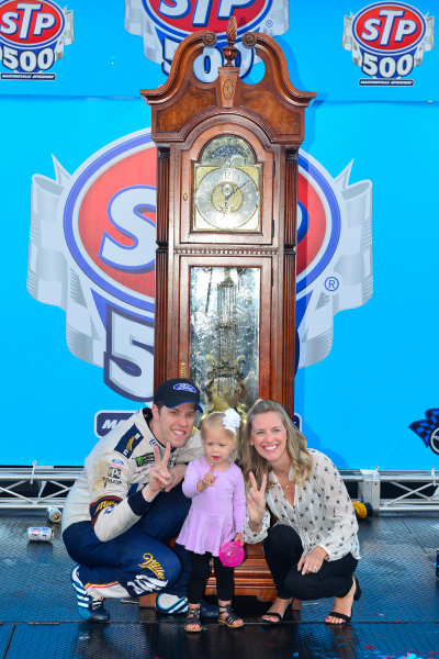 2017 Monster Energy NASCAR Cup Series STP 500 Martinsville Speedway, Martinsville, VA USA Sunday 2 April 2017 Brad, Scarlett, and Paige Keselowski in victory lane  World Copyright: Logan Whitton/LAT Images ref: Digital Image 17MART1LW2854