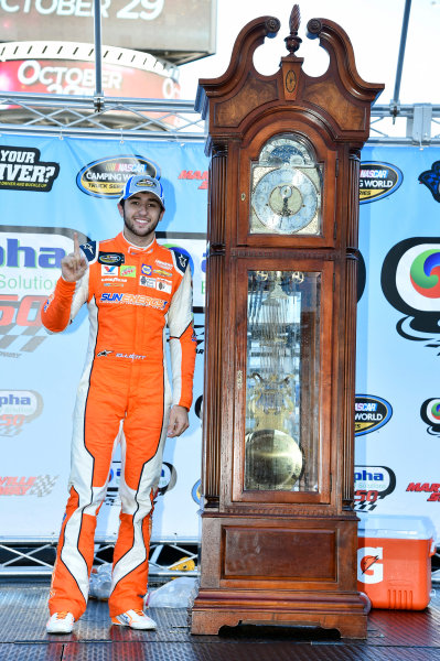 NASCAR Camping World Truck Series Alpha Energy Solutions 250 Martinsville Speedway, Martinsville, VA USA Saturday 1 April 2017 Chase Elliott celebrates his win in Victory Lane World Copyright: Nigel Kinrade/LAT Images ref: Digital Image 17MART1nk05360