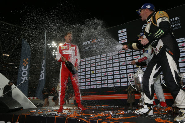 2015 Race Of Champions Olympic Stadium, London, UK Saturday 21 November 2015 Sebastian Vettel (GER), Petter Solberg (NOR) and Tom Kristensen (DMK), celebrate on the podium Copyright Free FOR EDITORIAL USE ONLY. Mandatory Credit: 'IMP'