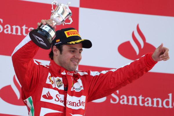 Felipe Massa (BRA) Ferrari celebrates on the podium. Formula One World Championship, Rd5, Spanish Grand Prix, Race Day, Barcelona, Spain, Sunday 12 May 2013.  BEST IMAGE