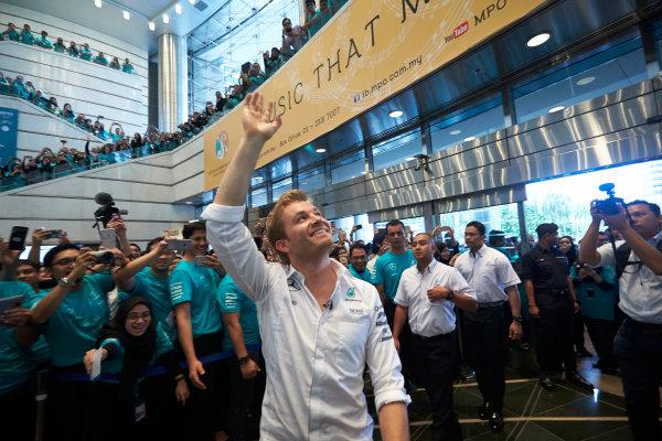 2016 Mercedes AMG F1 World Championship Celebrations. Kuala Lumpur, Malaysia Tuesday 29 November 2016. Drivers World Champion Nico Rosberg pays a visit to team sponsor Petronas in Kuala Lumpur. Photo: Steve Etherington/LAT Photographic ref: Digital Image SNE22049