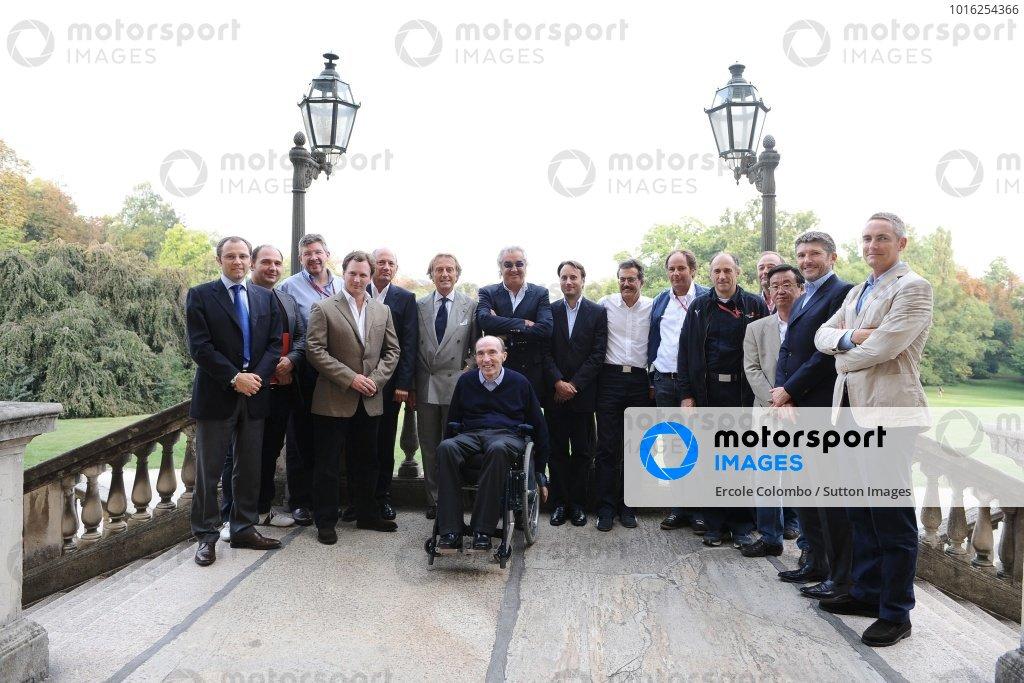 The FOTA team members (L to R): Stefano Domenicali (ITA) Ferrari Manager of F1 Operations, Dr Colin Kolles (GER) Force India F1 Team Principal, Ross Brawn (GBR) Honda Team Principal, Christian Horner (GBR) Red Bull Racing Team Principal, Ron Dennis (GBR) McLaren Team Owner, Luca di Montezemolo (ITA) Ferrari Team Manager, Frank Williams (GBR) Williams Team Owner, Flavio Briatore (ITA) Renault Team Principal, Adam Parr (GBR) Williams CEO, Dr Mario Theissen (GER) BMW Sauber F1 Team Principal, Gerhard Berger (GBR) Scuderia Toro Rosso, Franz Tost (AUT) Scuderia Toro Rosso, John Howett (GBR) President of Toyota F1, Tadashi Yamashina (JPN) Toyota F1 Chairman, Nick Fry (GBR) Honda Racing F1 Team Chief Executive Officer and Martin Whitmarsh (GBR) McLaren Managing Director. Formula One World Championship, Rd 14, Italian Grand Prix, Preparations, Monza, Italy, Thursday 11 September 2008.