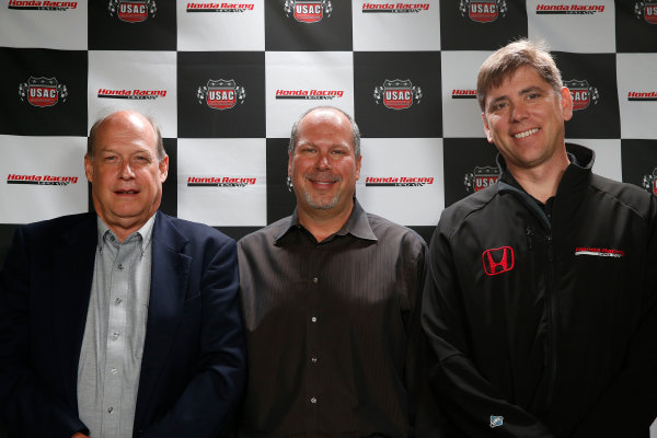 11-24  May, 2013, Indianapolis, Indiana, USA.T E. McHale of Honda, Kevin Miller of USAC and Steve Erickson of HPD announce a major sponsorship, partnership and supply for USAC's 3 midget championships © 2013, Michael L. Levitt LAT Photo USA.