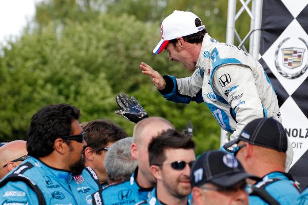 2 June, 2013, Detroit, Michigan, USA Winner Simon Pagenaud celebrates victory with his crew. ©2013, Todd Davis LAT Photo USA