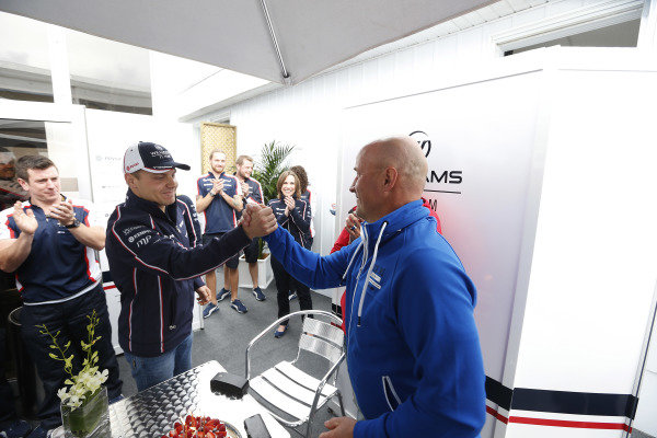 8th June 2013 Valtteri Bottas, Williams F1 celebrates his father, Rauno Bottas'  World Copyright: Charles Coates/  ref: Digital Image _N7T6077