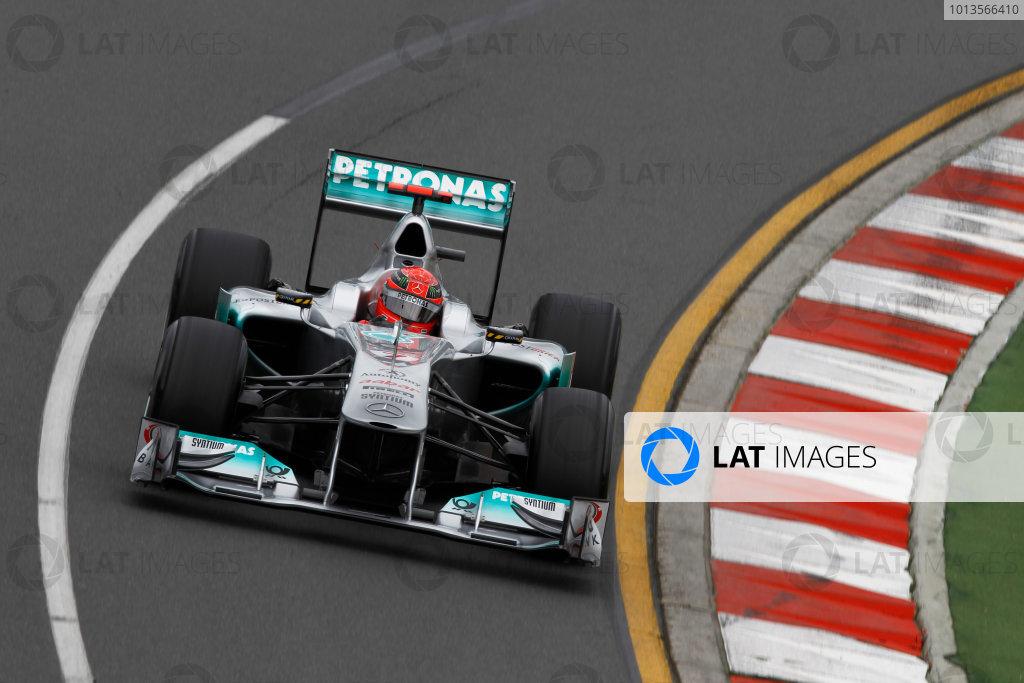 Albert Park, Melbourne, Australia25th March 2011.Michael Schumacher, Mercedes GP W02. Action. World Copyright: Andrew Ferraro/LAT Photographicref: Digital Image _Q0C7867