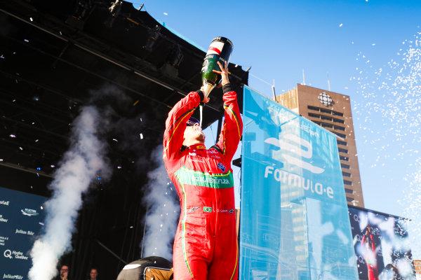 2016/2017 FIA Formula E Championship. Round 11 - Montreal ePrix, Canada Saturday 29 July 2017. Lucas Di Grassi (BRA), ABT Schaeffler Audi Sport, Spark-Abt Sportsline, ABT Schaeffler FE02, celebrates on the podium. Photo: Malcolm Griffiths/LAT/Formula E ref: Digital Image MALK5511