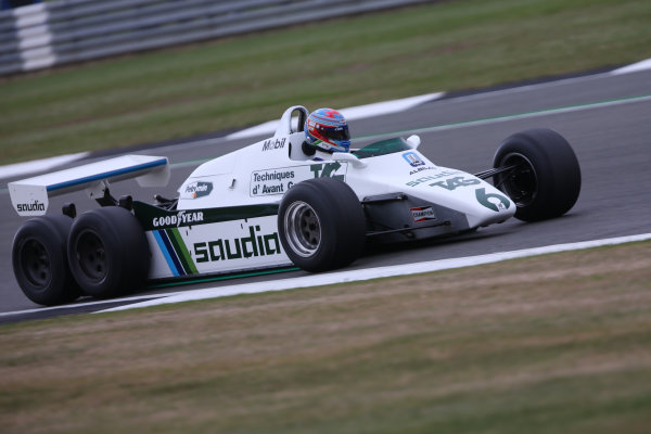 Silverstone, Northamptonshire, UK.  Saturday 15 July 2017. Paul di Resta drives a 1982 Williams FW08B Cosworth 6 wheeled F1 car in a parade as part of the Williams 40th Anniversary celebrations. World Copyright: Dom Romney/LAT Images  ref: Digital Image 11DXA7087