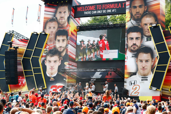Spa Francorchamps, Belgium.  Saturday 26 August 2017. Stoffel Vandoorne, McLaren, on stage in the F1 Fanzone. World Copyright: Sam Bloxham/LAT Images  ref: Digital Image _J6I9118