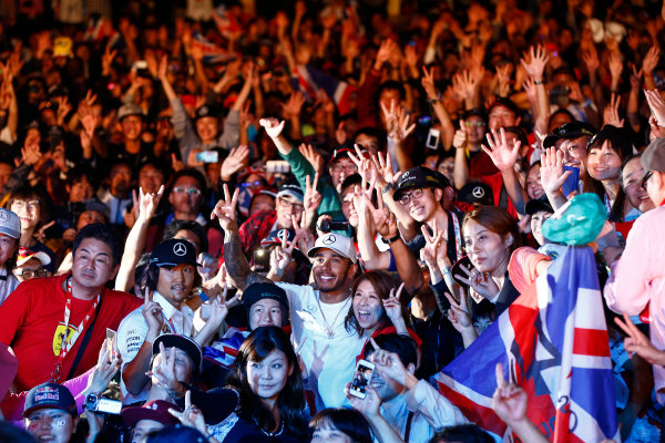 Suzuka Circuit, Japan. Saturday 7 October 2017. Lewis Hamilton, Mercedes AMG, in the crowd at the F1 fanzone stage. World Copyright: Andrew Hone/LAT Images  ref: Digital Image _ONY8038