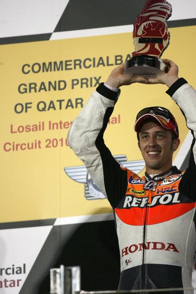 Qatar Losail International Circuit 9th-11th April 2010 Andrea Dovizioso celebrates his 3rd place
