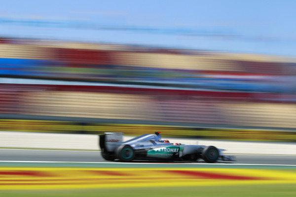 Circuit de Catalunya, Barcelona, Spain11th May 2012Michael Schumacher, Mercedes F1 W03. World Copyright:Andrew Ferraro/LAT Photographicref: Digital Image  _Q0C8693