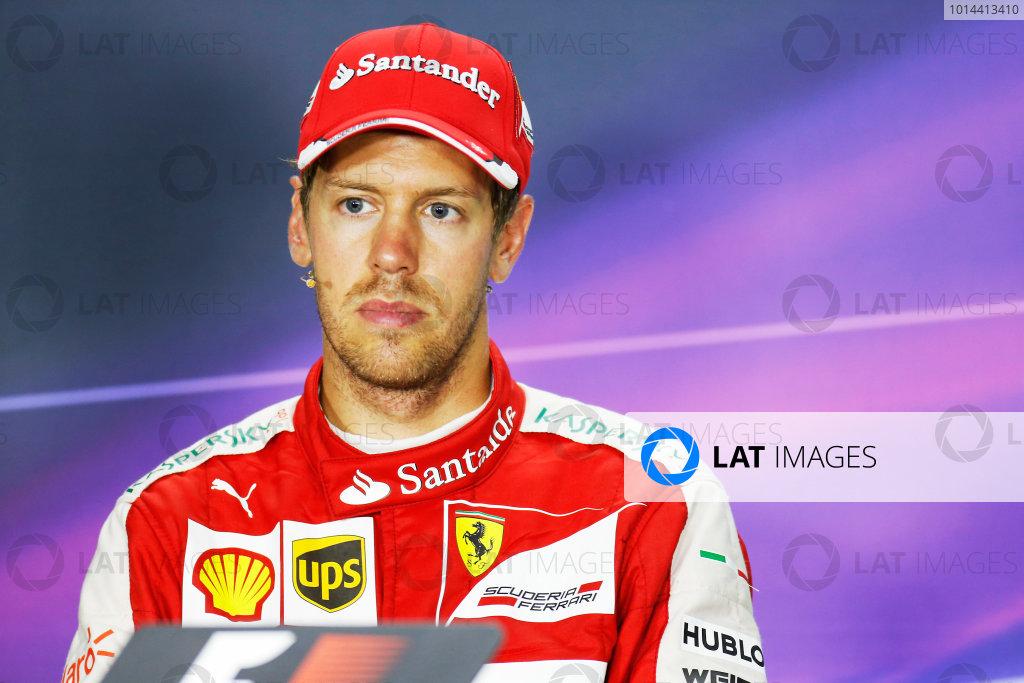 Hungaroring, Budapest, Hungary. Sunday 26 July 2015. Sebastian Vettel, Ferrari, 1st Position, in the Press Conference. World Copyright: Alastair Staley/LAT Photographic ref: Digital Image _R6T9459
