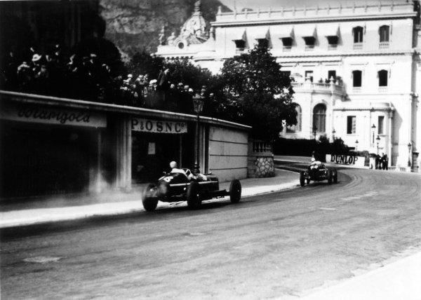 """1934 Monaco Grand Prix Monte Carlo, Monaco. 2 April 1934 Carlo Felice Trossi, Alfa Romeo Tipo-B """"P3"""", retired, leads Louis Chiron, Alfa Romeo Tipo-B """"P3"""", 2nd position, action World Copyright: Robert Fellowes/LAT PhotographicRef: 34MON03"""