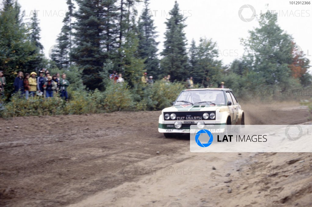 1977 World Rally Championship.Criterium Molson du Quebec, Canada. 14-18 September 1977.Timo Salonen/Jaakko Markkula (Fiat 131 Abarth), 1st position.World Copyright: LAT PhotographicRef: 35mm transparency 77RALLY07