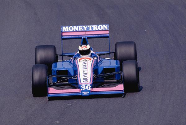 1989 Portuguese Grand Prix.Estoril, Portugal.22-24 September 1989.Stefan Johansson (Onyx ORE-1 Ford) 3rd position.Ref-89 POR 27.World Copyright - LAT Photographic